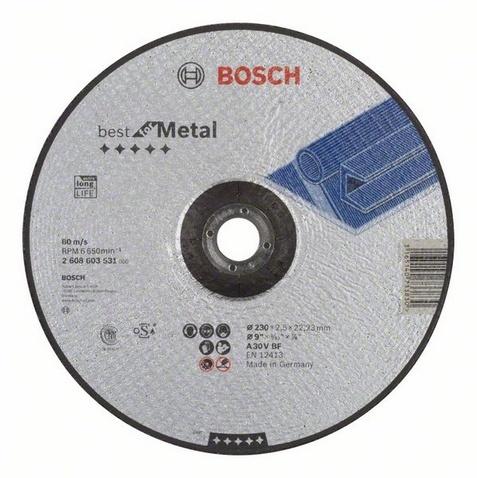 Диск отрезной вогнутый Bosch Best for MetalДиски пильные<br>Диск отрезной вогнутый Bosch Best for Metal, от ведущего мирового поставщика потребительских товаров, промышленных и строительных технологий Bosch, представляет собой комплектующую для ручных угловых шлифмашин Bosch. Насадка предназначена для аккуратного и ровного разрезания металлических заготовок и конструкций. Диск выполнен из высококачественных износостойких материалов, практичен и долговечен в использовании. Диаметр диска 230 мм.<br>