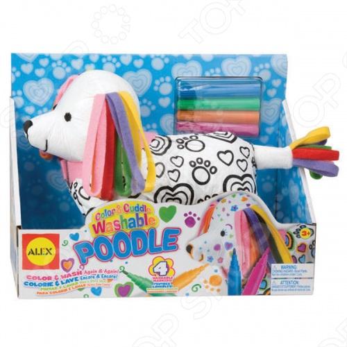 Набор ALEX Раскрась пуделя - это необычный набор, с помощью которого можно разукрасить на свой вкус цветными фломастерами для ткани мягконабивную игрушку. Данная модель поможет малышу развить фантазию и образное мышление. Можно стирать в машинке. Одежда снимается. Для детей от 3-х лет.