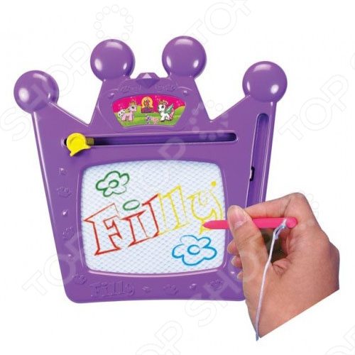 Доска для рисования Filly - непременно понравится вашей малышке, ведь девочки так любят рисовать, а на этой яркой доске можно создавать рисунки снова и снова, достаточно лишь очистить экран с помощью специального рычажка. Доска выполнена в виде кароны, которая украшает головки сказочных лошадок Fairy.