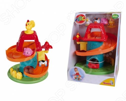 Ферма Simba игрушечная 4014627 увлекательная игрушка для самых маленьких с пятью забавными персонажами курочкой, цыпленком, поросенком, теленком и птичкой. Животные скатываются со спиральной горки, которая закручена вокруг башенки. А птичка, которая сидит на флажке точно определяет победителя гонки. Когда животное проезжает мимо флажка, то раздается характерный звук, который оповещает о том, что спортсмен скоро подойдет к финишу. В конце горки зверюшек ждет дверка, которая открывается от толчка животного. Ферма Simba игрушечная 4014627 станет любимой игрушкой вашего малыша.