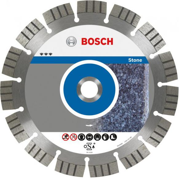 Диск отрезной алмазный для угловых шлифмашин Bosch Best for Stone 2608602643