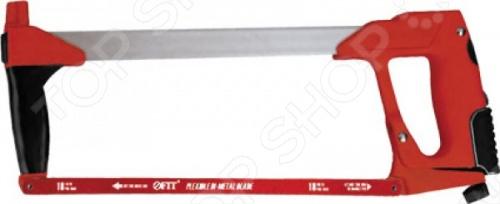 Ножовка по металлу FIT 40078Лобзики. Ножовки. Пилы<br>Ножовка по металлу FIT 40078 с гибким биметаллическим полотном повышенной износоустойчивости. Имеет эргономичную ручку для удобного хвата. У ножовки можно отрегулировать натяжение, а также быстро сменить полотно. Рама из литого алюминия, покрытого эмалью, имеет трубчатое строение для усиления конструкции. Возможность закрепления полотна под углом 55 .<br>