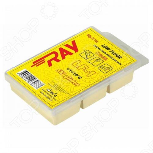Парафин RAY LF1Смазки для лыж<br>Смазки серии LF используются в условиях повышенной влажности воздуха более 65 и снега. Наличие в их составе добавок из фтора позволяет значительно улучшить скоростные характеристики и рабочую стабильность смазки. Вводимые добавки фтора имеют коэффициент поверхностного натяжения в 2-3 раза меньше, чем углеводородная основа. Желтый парафин RAY LF1 является фторсиликоновой смазкой, которая применяется в условиях сырого мокрого снега при 3 С и выше. При пользовании на дистанции более 15 км нужно провести насыщение порошками VF, либо нанести их верхним слоем.<br>
