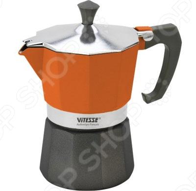 Эспрессо-кофеварка Vitesse VS-2604. В ассортиментеКофеварки. Кофемолки. Турки<br>Эспрессо-кофеварка Vitesse VS-2604 позволит вам приготовить ароматный напиток на 6 персон. Принцип работы такой гейзерной кофеварки - кофе заваривается путем многократного прохождения горячей воды или пара через слой молотого кофе. Корпус кофеварки изготовлен из высококачественного алюминия, а удобная ручка из прочного пластика. Кофеварка состоит из двух соединенных между собой емкостей. В нижнюю емкость наливается вода, в эту же емкость устанавливается фильтр, в который засыпается кофе. К нижней емкости прикручивается верхняя емкость, после чего кофеварка ставится на газовую или электрическую плиту, и через несколько минут кофе начинает брызгать в верхний контейнер и осаждаться. Кофе получается крепкий и насыщенный.<br>