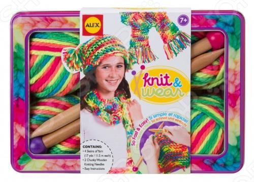 Набор для вязания спицами Alex «Разноцветные шарф и шапочка» набор для вязания спицами alex модные вещи из пушистой пряжи