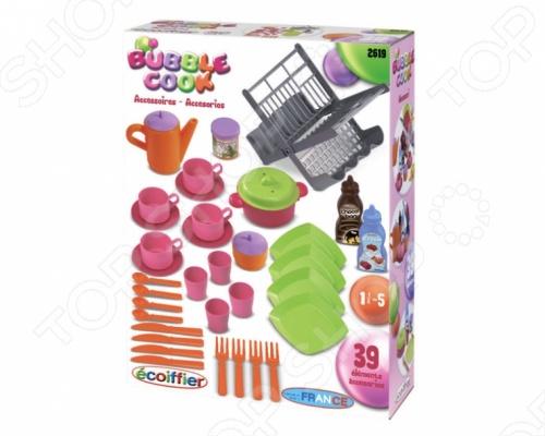 Набор: сушилка для посуды и посудка Ecoiffier 2619 набор игровой ecoiffier сушилка для посуды посуда 39 предметов