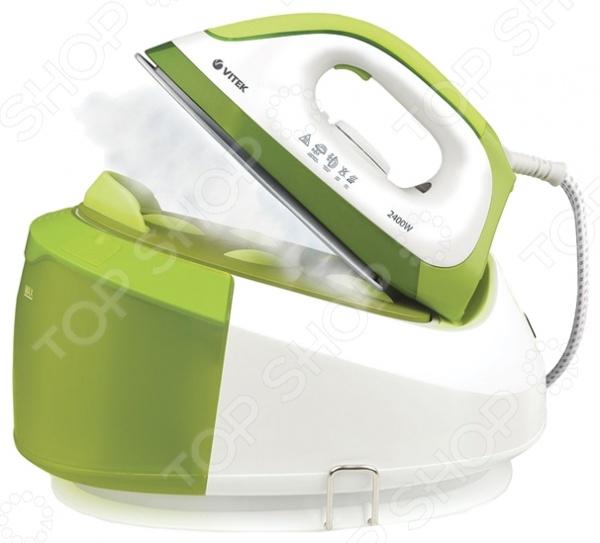 Паровая станция Vitek VT-1284 GПарогенераторы<br>Паровая станция Vitek VT-1284 G позволит вам быстро и без труда отгладить любую ткань от шелка до льна, а также очистить и продезинфицировать мягкую мебель и игрушки. Парогенератор достаточно компактен и удобен в использовании, генерирует в несколько раз больше пара по сравнению с обычным утюгом. Модель снабжена подошвой с инновационным керамическим покрытием UniCera, отличающимся высокой прочностью, гладкостью и устойчивостью к механическим повреждениям. Интенсивность подачи пара составляет 240 г мин, а объем резервуара для воды 1,7 литров. Утюг оснащен функцией фиксации мощности постоянного пара, индикацией отсутствия воды и готовности пара.<br>