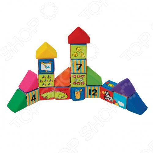 Кубики мягкие KS Kids «Учись, играя»Кубики для малышей<br>Кубики мягкие K 39;S Kids Учись, играя предназначены для самых маленьких детей. Набор состоит из 12 кубиков и восьми треугольников. Кубики мягкие, цветные и яркие, их приятно держать в руках, а также смотреть на них. На каждую из граней кубика нанесен рисунок. Таким образом, комбинируя кубики, ребенок может собрать большую картинку, а также изображения зверушек и машинок. Кроме того, на одной из граней каждого кубика есть картинки со вставками: сначала ребенок видит один рисунок, а затем, приподняв покрывающую его накладку, находит еще одно изображение. Также на гранях кубиков расположены цифры и какие-либо предметы в разном количестве, что способствует обучению малыша счету.<br>