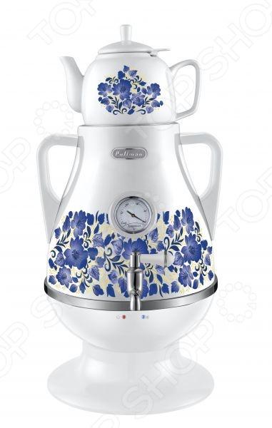 Самовар электрический Pullman PL-1020Термопоты<br>Самовар электрический Pullman PL-1020 обеспечит вас кипятком для чая, кофе или других напитков, когда возникает необходимость в большом их количестве, при этом, обеспечит минимальные затраты электричества и максимум удобства при эксплуатации. Оригинальная форма, яркий цвет наполнят незабываемой уютной и теплой атмосферой любое помещение, в котором вы решите расположить самовар, а так же сделает каждый перерыв или празднество намного приятнее.<br>