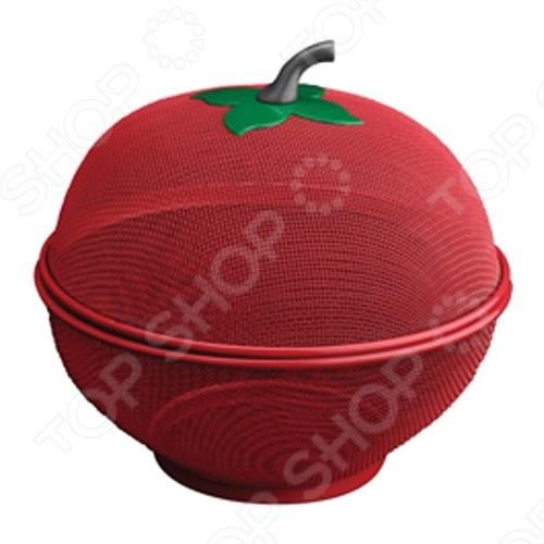 Фруктовница с крышкой Regent 93-РRО-34 - специфическая посуда для хранения фруктов, изготовлена в форме фрукта из металла, крашеная металлическая сетка. Выглядит очень красиво на кухне.