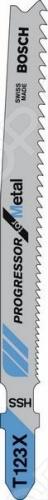 Набор пилок для лобзика Bosch Т 123 Х HSSПилки для лобзиков<br>Набор пилок Bosch Т 123 Х HSS предназначен для распиловочных работ по металлу с помощью электрического лобзика. Для большей эффективности пилка имеет разведённые фрезерованные зубья с шагом 1,2-2,6 мм. Общая длина составляет 92 мм. Полотно из качественной HSS-стали отлично справится с толщиной материала до 10 мм, а трубами и профилем толщиной до 30 мм. В зависимости от набора, тип упаковки может отличаться.<br>