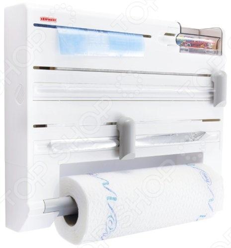 Рулонодержатель Leifheit PARAT PLUS 25723Рулонодержатели. Держатели для полотенец<br>Рулонодержатель Leifheit PARAT PLUS 25723 удобное кухонное устройство для хранения рулонов с бумажным полотенцем, фольгой и полиэтиленовой пленкой. Разрезание рулонов происходит с помощью режущих планок. Бумагу вы закладываете в контейнер спереди поднимаете крышку, вставляете рулон и крышка закрывается . Наличие контейнера в изделие отлично подойдет для хранения различных мелочей. Данная модель изготовлена из жаростойкой пластмассы.<br>