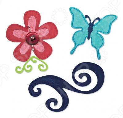 Набор форм для вырубки Sizzix Sizzlits Бабочка, цветок, завиток набор форм для вырубки sizzix sizzlits бабочка цветок завиток