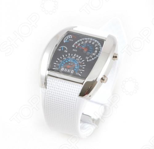 Часы бинарные Спидометр самые необычные часы на сегодняшний день, идея создания которых уникальна, а привлекательный дизайн завораживает и делает желанными. Они представлены в ассортименте нескольких цветов. Бинарные часы обращены к тем, кто действительно любит задумываться о времени. Главное отличие бинарных часов отсутствие циферблата и цифр в привычном понимании. Циферблат этих часов один в один напоминает панель приборов автомобильной техники и мототехники, создает ощущение скорости и остроты ощущений. Часы сообщают о набежавших часах-минутах яркие неоновые точки на LED-дисплее, расположенные в той или иной последовательности. Размер корпуса Спидометр составляет 40х38 мм, длина ремешка - 170-220 мм, а поверхность циферблата из стекла. Бинарный Спидометр покажет необычным способом не только время, но и дату, а также день недели! Они подчеркнут имидж тех людей, которые не представляют свою жизнь без автомобилей или просто любят скорость во всем. Будь вы водитель, мотоциклист, стритрейсер или просто яркая личность часы бинарные Спидометр будут для вас незаменимым аксессуаром!
