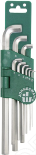 Набор ключей торцевых шестигранных укороченных Jonnesway H03SS109S  набор торцевых шестигранных ключей jonnesway h02mh118s
