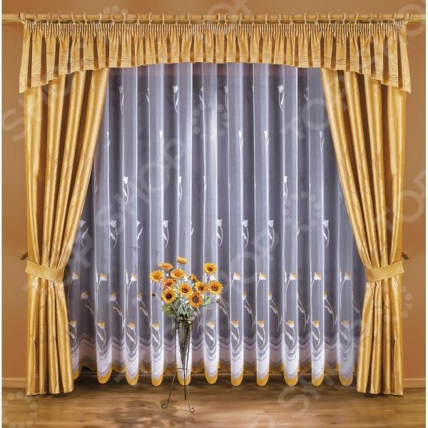 Комплект штор Wisan «Марианна»Шторы<br>Комплект штор Wisan Марианна это качественный оконный занавес, который преобразит интерьер и оживит атмосферу, придав всей комнате домашний уют, завершенность и оригинальность. Шторы изготовлены из полиэстера, который практически не мнется, легко отстирывается от загрязнений, не притягивает пыль и не требует глажки. Благодаря этому ткань способна выдержать сотни стирок без потери цвета и прочности. Обычные материалы со временем выгорают, на них собирается пыль, появляются неприятные запахи. С полиэстером этого не происходит штора почти не пачкается и не впитывает запахи, при этом вы очень легко ее постираете и высушите. Интерьер квартиры или дома, в котором окна не украшены занавесом, сегодня трудно представить, поэтому шторы станут отличным подарком для любого человека. Купить шторы способ недорого, быстро и изящно преобразить дизайн домашнего интерьера!<br>