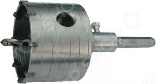 Коронка по бетону с шестигранным хвостовиком является сменным элементом для ударных дрелей и перфораторов. Применяется для сверления отверстий в бетоне, камне и кирпиче. Коронка изготовлена из хром-молибденовой стали и имеет твердосплавные резцы. В конструкции коронки предусмотрено сверло для центрирования. Имеет шестигранный хвостовик. При установке в патрон хвостовик необходимо смазывать.