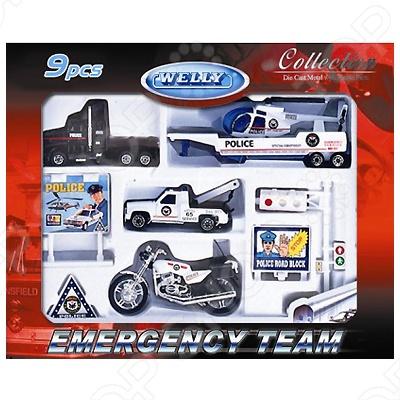 Набор машинок игрушечных Welly «Служба спасения. Полиция» 98630-9A машины welly игровой набор служба спасения полиция 9 шт