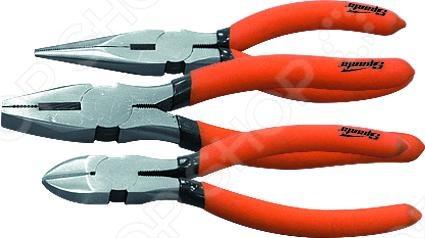 Набор губцевого инструмента SPARTA №1: 3 предметаКусачки. Пассатижи. Плоскогубцы. Длинногубцы<br>Набор губцевого инструмента из 3-х предметов SPARTA 1 великолепно подходит для строительных и монтажных работ. Прочный материал и продуманная форма конструкции облегчает и делает максимально комфортным их использование. Вам необходимо перекусить изоляцию, надрезать кабель или зажать мелкие детали С данными инструментами это вам удастся без особого труда.<br>