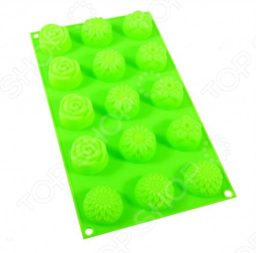 Форма для выпечки Marmiton «Цветочки», 15 ячеек. В ассортиментеСиликоновые формы для выпечки и запекания<br>Товар продается в ассортименте. Возможные варианты цвета: коричневый, синий, красный, зеленый, белый. Цвет изделия при комплектации заказа зависит от наличия цветового ассортимента товара на складе. Форма для выпечки Marmiton Цветочки , 15 ячеек изготовлена из чистого силикона абсолютно инертного медицинского материала. Силиконовые формы обладают естественными антипригарными свойствами, легко моются и могут использоваться в духовке или микроволновой печи. Диапазон температур: от -40 до 240 С. Marmiton Цветочки прекрасно подойдет для кексов, желе, безе, холодца.<br>