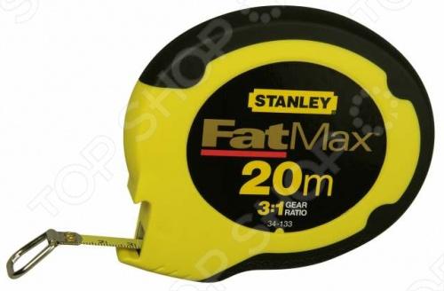 Рулетка STANLEY FatMax 20 мРулетки. Мерные ленты<br>Рулетка STANLEY FatMax 20 м используется в профессиональной сфере деятельности для проведения замеров на больших площадях. Рулетка проста и удобна в работе, она имеет прорезиненный корпус эргономичной формы с противоскользящими свойствами. Полотно рулетки отличается износо- и коррозиестойкостью, оно выполнено из нержавеющей стали и имеет повышенную гибкость. Петля на конце ленты обеспечивает легкость зацепки и простоту в работе.<br>