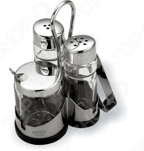 Набор для специй с салфетницей Vitesse Orva прекрасно будет смотреться у вас на кухне или на столе не только благодаря своей компактности, но и дизайну. А зеркальная полировка сделает её стильной изюминкой . Она очень просто и быстро моется руками, для экономии времени её можно мыть и в посудомоечной машине.