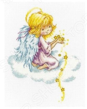 Набор для вышивания RTO «Звездный ангел»Наборы для вышивания<br>Набор для вышивания RTO Звездный ангел отличная вещь для тех, кто увлекается рукоделием. Изделие, созданное своими руками, станет прекрасным украшением вашего дома, либо оригинальным подарком близкому человеку, ведь вместе с ним мастер передает настроение, хорошие помыслы и теплоту своей души. В комплекте нитки мулине, подробная инструкция, символьная схема, игла и канва. Плотность клеток 55 шт. на 10 см.<br>