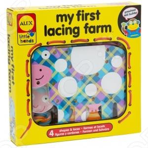 Игрушка-шнуровка ALEX Весёлая ферма станет замечательным подарком как для деток, так и для родителей. Она способствует развитию мелкой моторики рук, внимания и усидчивости. Яркая цветовая палитра и гладкая поверхность игрушечных животных формирует зрительное и тактильное восприятие предметов. Все элементы выполнены из высококачественного и безопасного для детского здоровья материала. Данная модель создана для детей возрастом старше 3 лет.