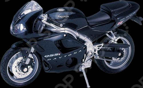 Модель мотоцикла 1:18 Welly Triumph Daitona 955I. В ассортиментеМодели авто<br>Модель мотоцикла 1:18 Welly Triumph Daitona 955I представляет собой коллекционную модель, являющуюся точной копией настоящего мотоцикла. Большая достоверность и похожесть настоящего транспортного средства обеспечивается наличием всех деталей, которые есть в реальной жизни: зеркалами заднего вида, выхлопной трубой, фарами, подножкой для устойчивости. Она будет прекрасным подарком для вашего малыша, так как это не только игрушка, но и полезная вещь, во время игры с которой у ребенка развивается мелкая моторика рук, воображение и фантазия.<br>
