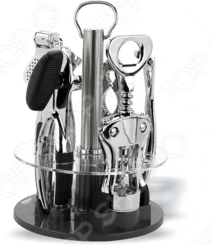 Набор кухонных принадлежностей на вращающейся подставке Vitesse ClaireНаборы кухонных принадлежностей<br>Функциональный набор кухонных принадлежностей Vitesse Claire обладает зеркальной полировкой и удобной вращающейся подставкой. Изготовлен из нержавеющей стали. Прекрасно подойдет в качестве подарка. Состоит из 6 предметов:  Ключ консервный  Пресс для чеснока  Нож для чистки овощей  Щипцы для орехов  Штопор  Подставка<br>