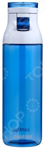 Бутылка для воды Contigo Jackson незаменима для тех, кто ведет активный образ жизни. Модель изготовлена из тритана, не содержащего бисфенол - А 0 BPA . Бутылка оснащена защищенной от проливания поилкой и плотным замком. Достаточно легкого нажатия на небольшую кнопку, как клапан откроется и вода начнет вытекать из емкости. Съемное двойное горлышко позволяет добавлять в бутылку кубики льда. С другой стороны, такая конструкция позволит с легкостью мыть изделие даже в посудомоечной машине. На крышке имеется специальный держатель, за который флягу можно подвесить на рюкзак или ремень.