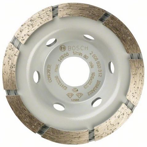 Диск чашечный алмазный Bosch Standard for Concrete 2608603312Насадки для шлифования, полировки, чистки<br>Круг чашечный алмазный Bosch Standard for Concrete 2608603312 специальный круг для использования как насадка для шлифовальной машинки, которая предназначена для обработки поверхностей из бетона. Предоставляется в футляре.<br>
