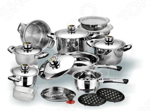 Если вы хотите приобрести набор способный справится со множеством задач на кухне, то Vitesse Opaline станет отличным выбором. Состоит из: 4 кастрюль разного размера, сотейника, сковородки, 2 чаш для смешивания, 8 крышек к ним, пароварки, корзины для жарки, терки, кольца адаптера, 2 бакелитовых подставок. Набор кухонной посуды Vitesse Opaline имеет матовую и зеркальную полировку, многослойное термоаккумулирующее дно, ручки с бакелитовыми вставками крепятся с помощью точечной сварки . Нагревать можно на галогеновых, индукционных, чугунных, стеклокерамических и газовых конфорках.