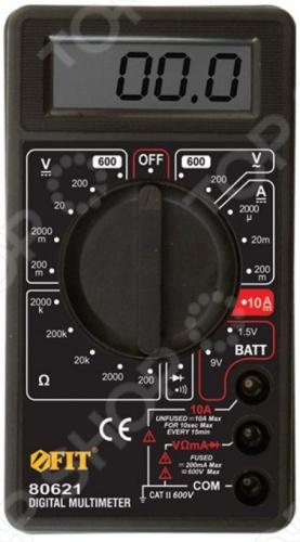 Детектор напряжения FIT DM830Детекторы и измерители напряжения<br>Детектор напряжения FIT DM830 позволяет измерять напряжение постоянного и переменного тока, величину постоянного тока 1 мкА-10 А и сопротивление цепи 0.1 Ом-2 МОм . Подает звуковой сигнал в режиме проверки целостности электроцепи. Предусмотрен индикатор разряда батареи. В комплекте батарея 9B, а также провод с наконечником и щупом.<br>