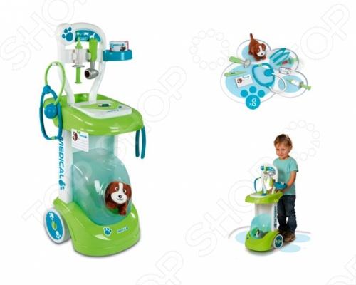 Набор ветеринара Smoby 24604Сюжетно-ролевые наборы<br>Набор ветеринара Smoby 24604 станет отличным подарком для вашего малыша. С такой игрушкой ваш ребенок сможет лечить животных, что с раннего возраста привьет любовь к живым существам. Благодаря такому набору малыш сможет проверить состояние здоровья пациентов и провести необходимое лечение. Комплект понравится как мальчикам, так и девочкам. Набор доктора состоит из удобной конструкции, которая снабжена различными полочками, емкостями и крючками для самых необходимых медицинских инструментов. Игрушка изготовлена из высококачественного пластика, который полностью безопасен для вашего ребенка. В комплект входят: 1 пациент собачка , медицинская карточка, миска для еды и воды, шприц, молоточек для проверки рефлексов, стетоскоп, медицинский пинцет, коробочка для пилюль. Для животного предусмотрено свое место. Набор ветеринара Smoby 24650 поможет развить моторику, фантазию, внимание и логическое мышление вашего малыша.<br>