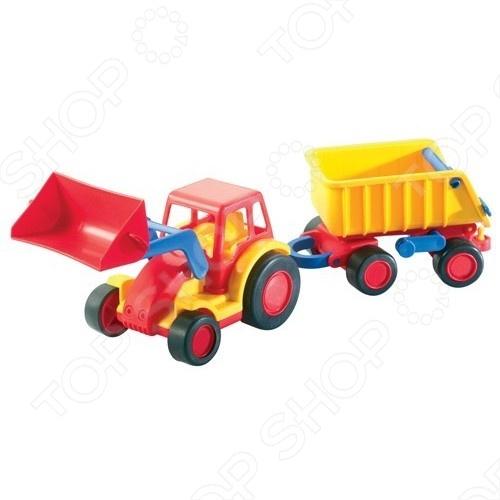 Трактор-погрузчик Wader «Базик» с прицепом педальная машинка dolu педальный трактор экскаватор с прицепом