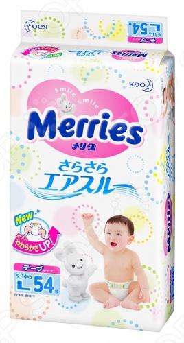 Подгузники Merries на липучках прекрасно подойдут детям весом от 9 до 14 кг, размер L. Имеют внутри мягкую пористую структуру, которая позволяет ему точечно соприкасаться с кожей и не прилегать к ней. Воздух беспрепятственно проходит между кожей и внутренней поверхностью подгузника, так что влага не скапливается, попка остается мягкой и сухой. Подгузник Merries обладает мягкими, легко растягивающимися резинками. Они нежно прилегают вдоль пояса и сделаны из воздухопроницаемого материала. Новая структура поглощающего слоя легко меняет форму в соответствии с движениями ножек. Когда малыш ползает, подгузник не мешает движениям ножек.