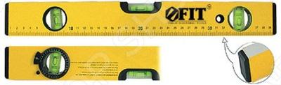 Уровень FIT Магнит-2 (2 глазка и 1 поворотный, шкала)Уровни<br>Уровень FIT Магнит-2 2 глазка и 1 поворотный, шкала этот отличный уровень, который позволит вам измерить все с погрешностью всего в 0,5 мм м. Более прочная конструкция коробчатого сечения, капсулы находятся в прочных сплошных акриловых блоках. Есть две фрезерованные рабочие поверхности. Отверстия для захвата с накладками из двух материалов, есть защитные заглушки на торцах уровня. Есть накладки на отверстиях для захвата, которые прикреплены винтами к корпусу. Центральная капсула увеличенного размера, что позволяет без проблем измерять все не напрягая глаза.<br>