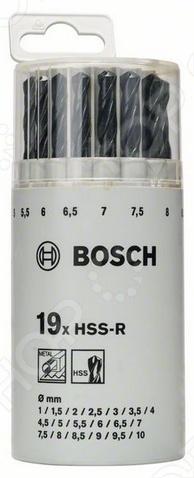 Набор сверл по металлу Bosch 2607018355Наборы сверл<br>Набор сверл по металлу Bosch 2607018355 это 19 сверл диаметром 1-10 мм см. Комплектацию . Изготовлены из быстрорежущей стали HSS-R по DIN 338. Предназначены для работы с легированной и нелегированной сталью с пределом прочности при растяжении до 900 Н мм2, цветными металлами, серым чугуном, твердыми пластмассами. Их отличает высокая эластичность и защита от излома особенно при сверлении отверстий меньше 6 мм , что достигается благодаря необходимой толщине стержня и исключительной твердости в рабочей зоне. Спиральная канавка с оксидным покрытием отводит стружку. Особенности сверл по металлу Bosh серия DIN 338 :  Праворежущее спиральное сверло типа N с острием 118 .  Завальцованная спираль со шлифованной фаской, с поверхностным упрочением путем обработки паром.  Хвостовик соответсвует диаметру сверления, цвет сверла черный.  2 режущие кромки, двуспиральное. Набор поставляется в твердой пластиковой упаковке с евроотверстием. Bosch это немецкий бренд, история которого насчитывает более 120 лет. С 1930 года компания Bosch начала выпуск профессиональных инструментов. Высочайшее качество и постоянное развитие производственных технологий позволили Bosch добиться всемирного признания.<br>