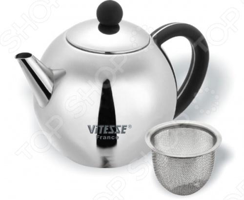 Чайник заварочный с ситечком Vitesse Carola VS-1236Чайники заварочные<br>Vitesse Carola - эстетичный и функциональный, с эксклюзивным дизайном чайник. Он будет оригинально смотреться в любом интерьере. Чайник имеет вынимающийся фильтр-ситечко, что делает его чрезвычайно удобным в использовании. Зеркальная полировка. Чайник можно мыть в посудомоечной машине.<br>