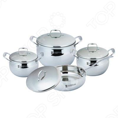 Набор кухонной посуды Rainstahl RS-1088Наборы посуды для готовки<br>Набор кухонной посуды Rainstahl RS-1088 это объемные кастрюли с высококачественным покрытием, прекрасно подходят для пассировки и тушения, а главное варки наваристых супов. Благодаря специальному покрытию, в них можно приготовить разнообразные блюда из мяса, рыбы, птицы и овощей практически не используя масло. Интересный дизайн посуды отлично впишется в вашу кухню. После использования вы можете очистить посуду как классическим способом, так и с помощью посудомоечной машины.<br>