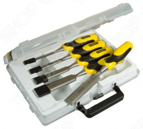 Набор стамесок STANLEY DynaGrip 2-16-888Стамески. Резцы<br>Набор стамесок STANLEY DynaGrip 2-16-888 предназначается для обработки деревянных и других разнообразных заготовок, например, из пластика и пр. Стамески имеют разнообразные размеры, что позволяет производить выборку отверстий и пазов различных размеров. Также инструменты подходят для работы со слесарным стальным молотком благодаря наличию специальных стальных заглушек на концах ручек. Для более удобного захвата без скольжения рукоятки имеют специальные мягкие вставки. Комплект стамесок легко хранить и транспортировать за счет наличия закрывающегося чемоданчика с ручкой.<br>