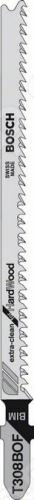 Набор пилок для лобзика Bosch Т 308 ВOF BIMПилки для лобзиков<br>Набор пилок Bosch Т 308 ВOF BIM предназначен для распиловочных работ по древесине твердых пород и абразивным древесным материалам с помощью электрического лобзика. Для большей эффективности пилка имеет шлифованные зубья под свободным углом с шагом 2,2 мм. Общая длина составляет 117 мм. Биметаллическое полотно отлично справится с материалом толщиной до 50 мм. В зависимости от набора, тип упаковки может отличаться.<br>