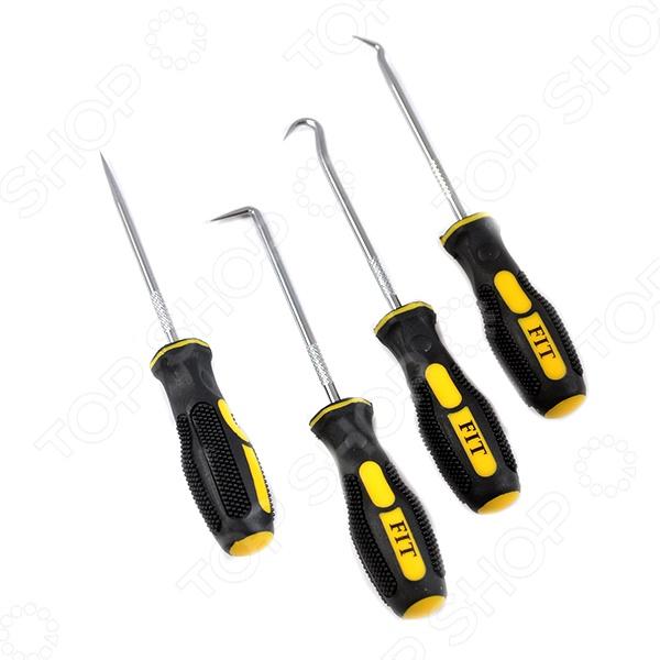 Набор захватов монтажных FIT 67420Наборы инструментов<br>Набор захватов монтажных FIT 67420 представляет собой комплект инструментов различной формы, используемых для проделывания отверстий в материалах, демонтажа уплотнительных колец, разделения проводов и т.д. Он станет отличным дополнением к набору ваших слесарных инструментов и пригодится при проведении ремонтных и монтажных работ. Захваты изготовлены из высококачественной инструментальной стали и снабжены эргономичными прорезиненными рукоятками, обеспечивающими их удобный и надежный захват во время работы.<br>