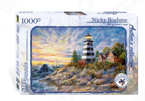 Коллекционный подарочный пазл От греха подальше из серии Author s collection . Одинокий маяк сияет в вечернем небе, морские волны разбиваются о прибрежные скалы, вдалеке белеют паруса. Собрав этот пазл, вы получите морской пейзаж известной американской художницы Nicky Boehme. Пазл - это отличный подарок, ведь собирание картинок не только интересное, но и полезное занятие для детей.Поможет в развитии логического мышления, тактильного восприятия, мелкой моторики рук, терпения.