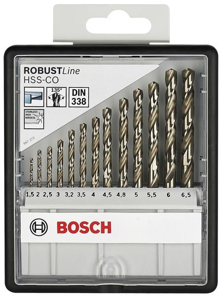 Набор сверл по металлу Bosch Robust Line HSS-Co 2607019926Наборы сверл<br>Набор сверл по металлу Bosch Robust Line HSS-Co 2607019926 замечательно подходит для того, чтобы вы могли просверлить сквозные или же глухие отверстия в стали, ковком чугуне, металлокерамических сплавах на основе железа, мельхиоре, меди, бронзе, твердых пластмассах, плексигласе. Надёжный и прочный материал, из которого изготовлены все элементы набора обеспечивает отличное качество выполняемых работ, а так же долговечность эксплуатации, что, несомненно, придётся по душе любому мастеру.<br>