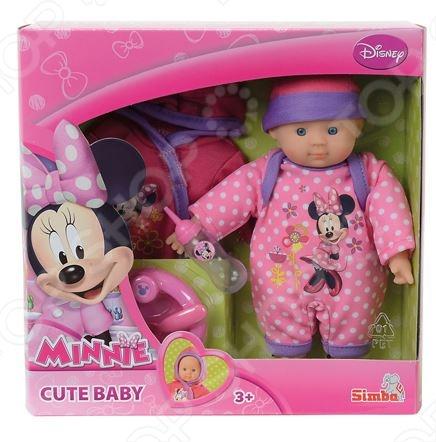 Пупс с аксессуарами Simba Minnie Mouse станет отличным подарком для вашей доченьки. Очаровательный пупс с умилительными пухленькими щечками не оставит равнодушной ни одну малышку, она с радостью будет за ним ухаживать, кормить и играть в дочки-матери. В комплекте к пупсу прилагаются два симпатичных комбинезончика с изображением Мини Маус, тарелочка с ложкой и бутылочка для кормления. Игрушка выполнена из высококачественных, безвредных для здоровья малыша материалов и предназначена для детей в возрасте от 3-х лет.