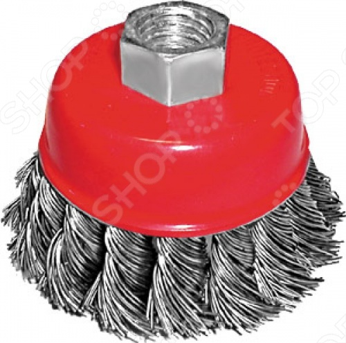 Корщетка-чашка используется для шлифовальных и обдирочных работ в угловых шлифовальных машинах. Оснастка крепится к инструменту при помощи гайки М14. Рабочая поверхность щетки витая стальная проволока.