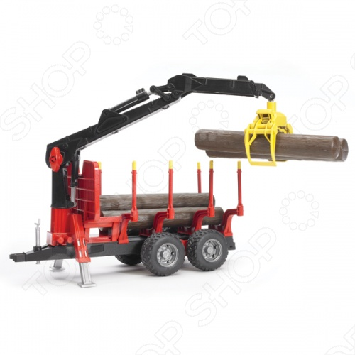 Прицеп для перевозки леса с манипулятором Bruder 02-252 tomy прицеп для перевозки лошадей с лошадью и жеребенком с 3 лет