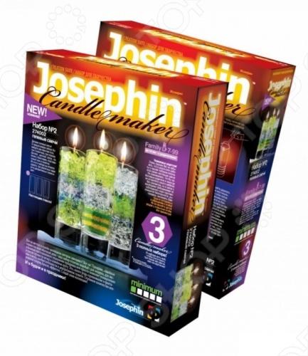 Набор для изготовления гелевых свечей Josephine 2 включает в себя все необходимое для создания уникальных авторских гелевых свечей в домашних условиях. В комплект входят: две баночки геля, три стаканчика, три отрезка фитиля, цветной песок, пакетик с блестками, пластмассовый нож и ложечка. Вы сможете сделать целых три варианта различных свечей. Процесс приготовления предусматривает использование водяной бани, поэтому детям до 14 лет рекомендуется помощь родителей.